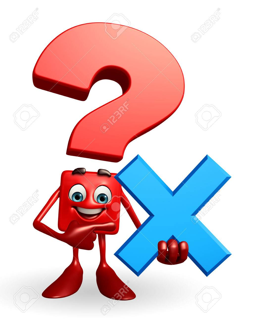 1043x1300 Cartoon Character Of Question Mark With Cross Sign Stock Photo
