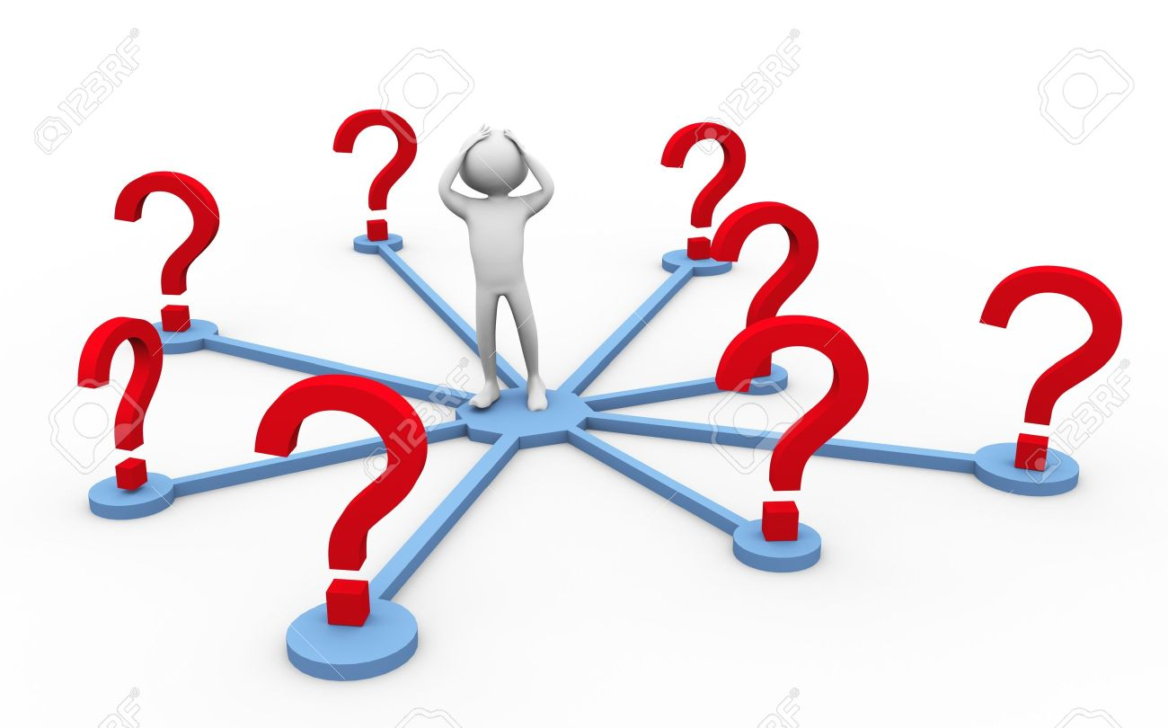 1300x810 Confused 3d Man In The Middle Of Question Marks Stock Photo