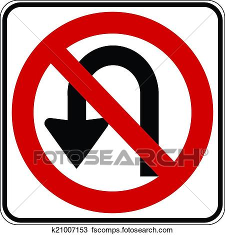 450x470 Clipart Of No U Turn Road Sign K21007153