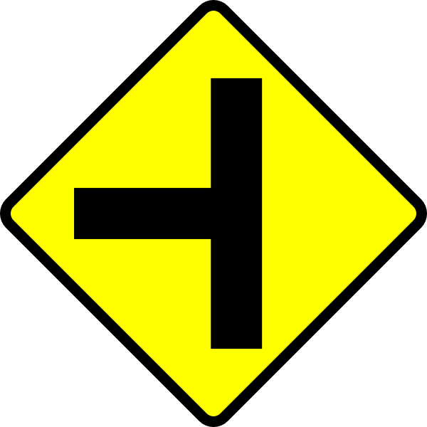 600x600 Caution T Junction Road Sign Clip Art Free Vector 4vector