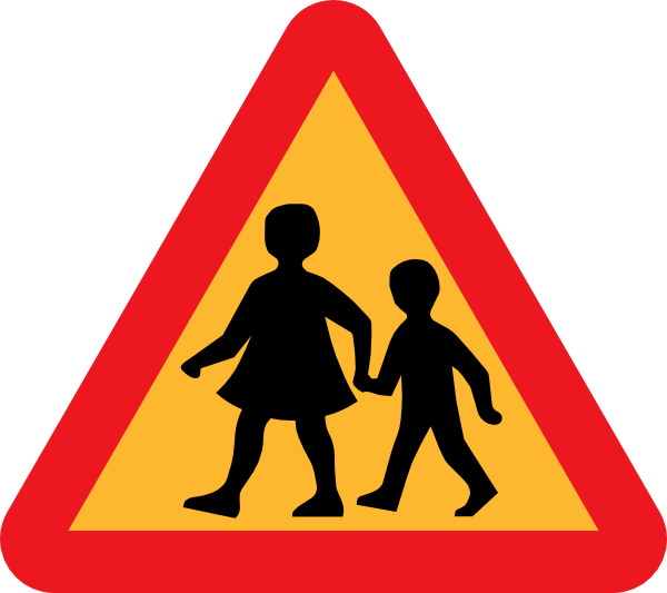 600x533 Child And Parent Crossing Road Sign Clip Art Free Vector 4vector