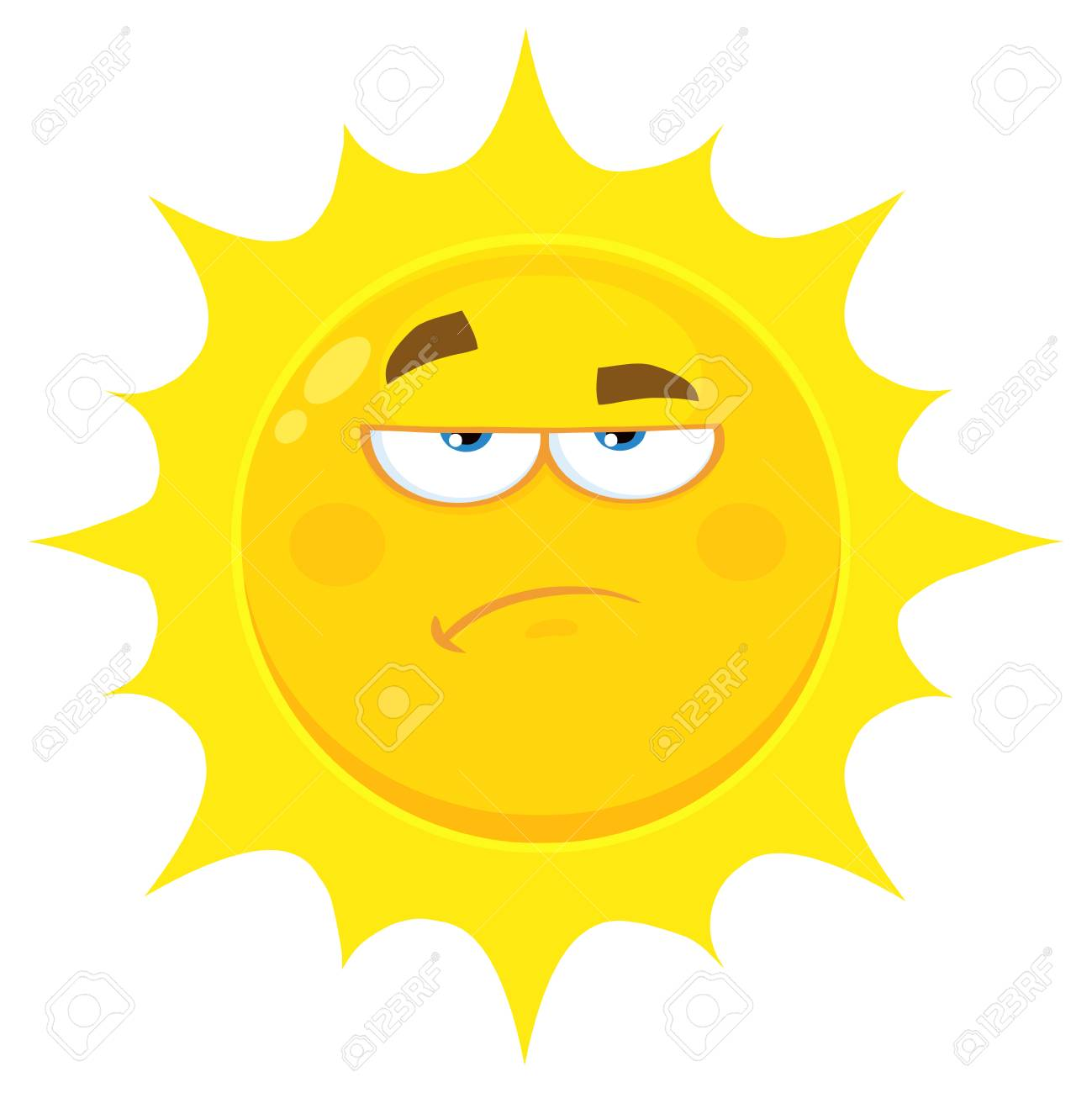 1299x1300 Grumpy Yellow Sun Cartoon Emoji Face Character With Sadness
