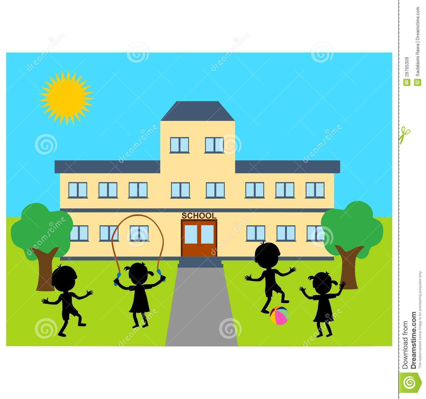 1387x1300 Cartoon School Building Clipart