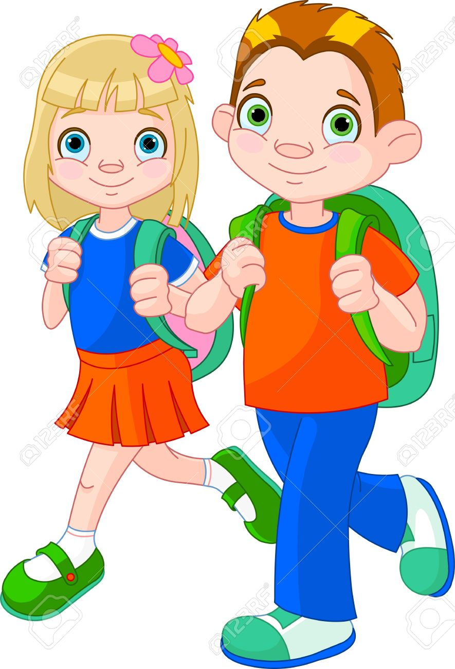 885x1300 Girl Go To School Clipart