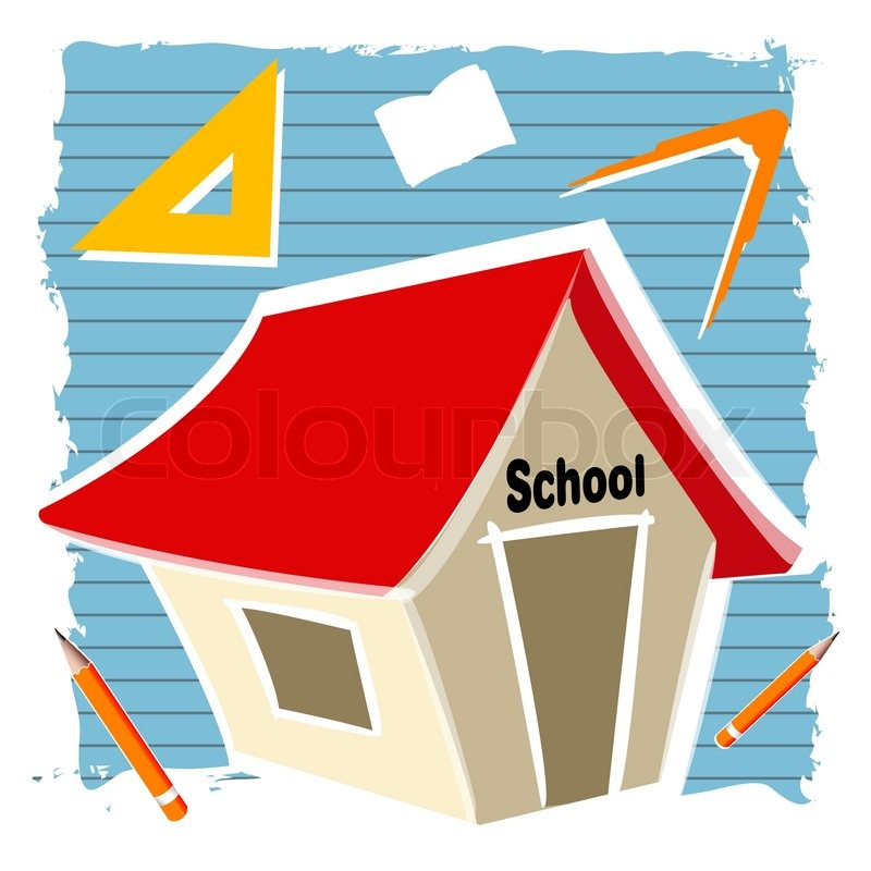 800x800 Illustration Of School Building With Education Elements Stock