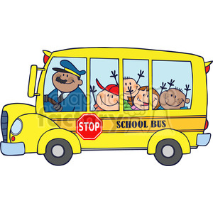 300x300 Royalty Free 5047 Clipart Illustration Of School Bus With Happy
