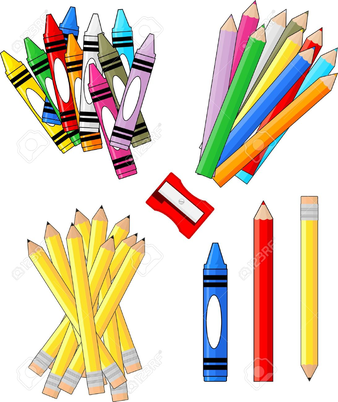 1093x1300 School Supplies Groups Clip Art Isolated On White Background