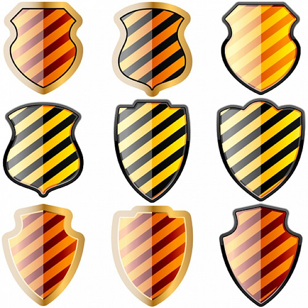 626x626 Free Set Of Of Shields In Black And Yellow Stripes Vector Free