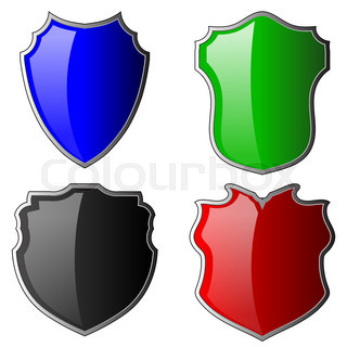 320x320 Golden Shield With A Blue Background Isolate Stock Vector