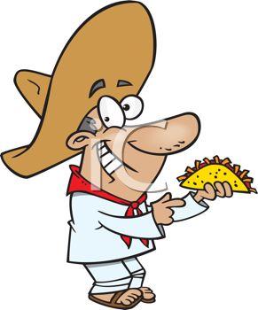291x350 Mexican Man Wearing A Sombrero Holding A Taco