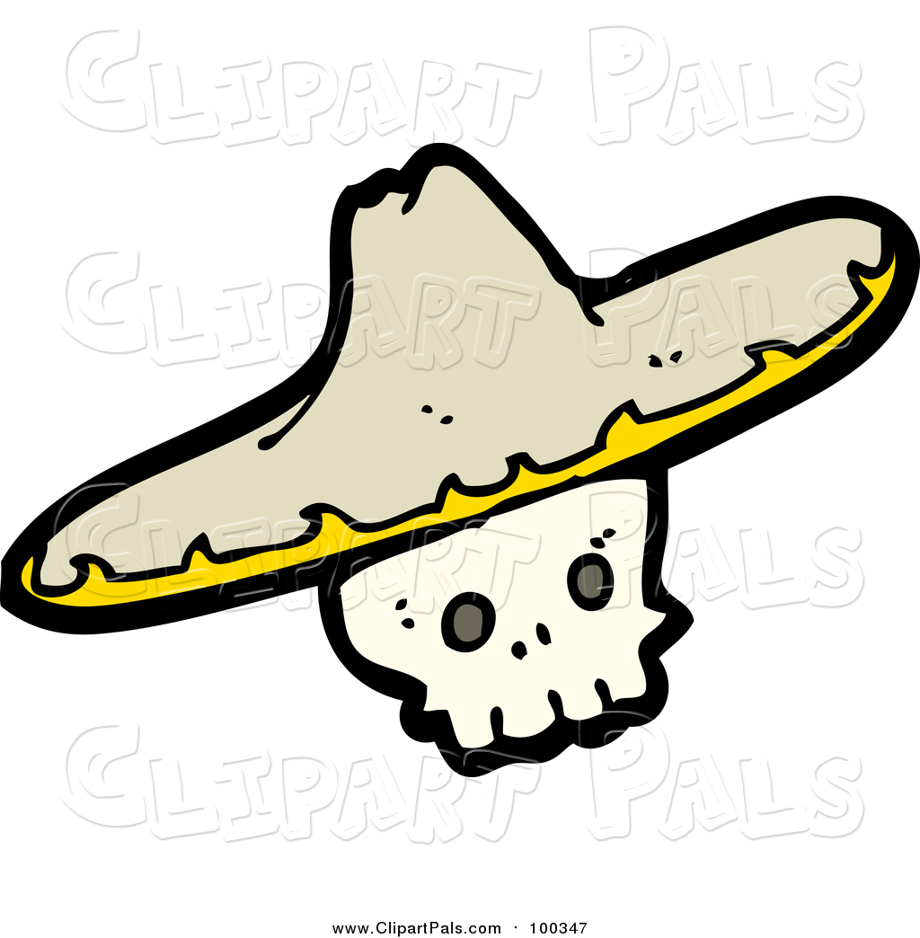 1024x1044 Pal Clipart Of A Skull Wearing A Sombrero Hat By Lineartestpilot
