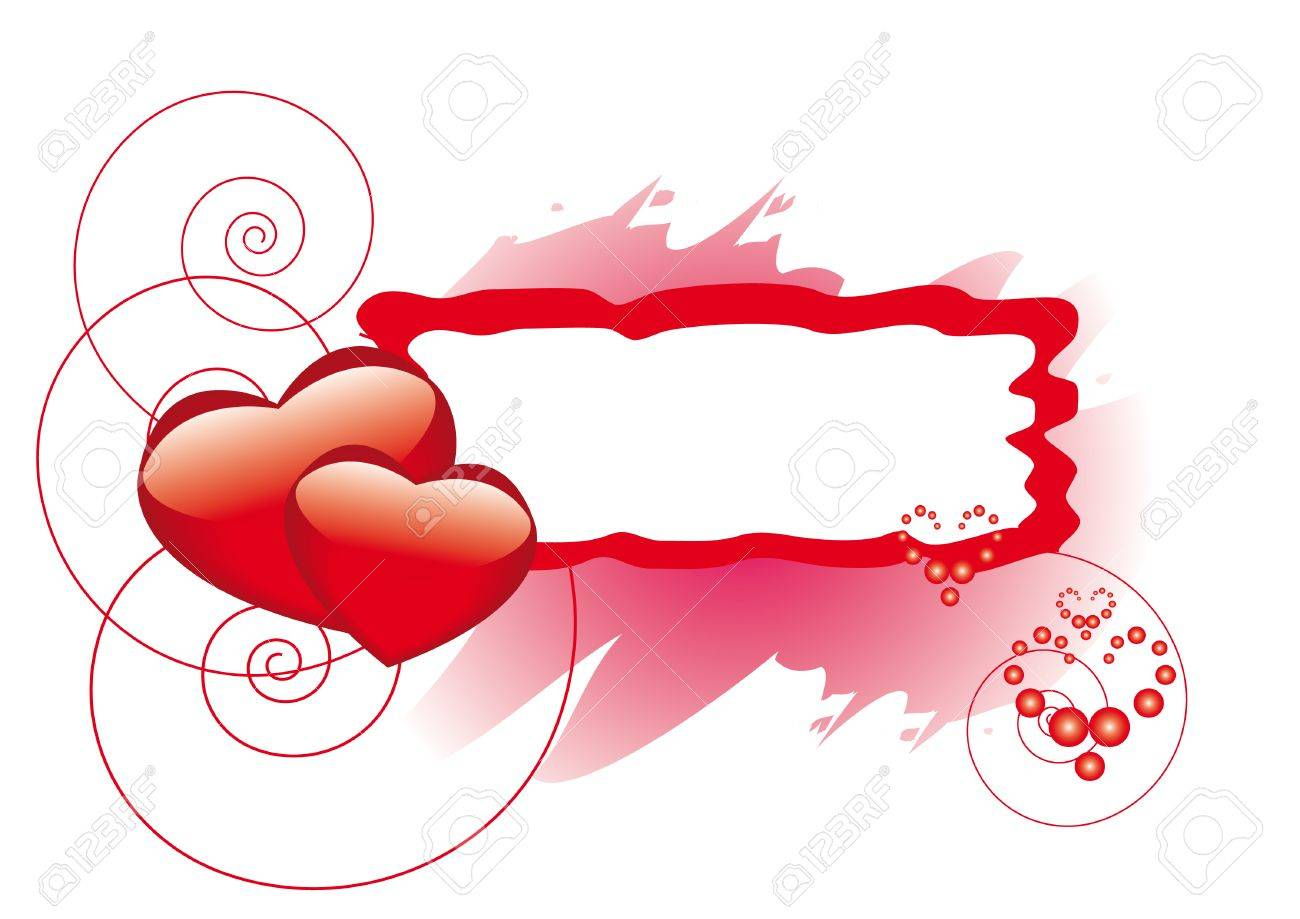 1300x919 Rectangle Frame With Hearts For St. Valentine Day Royalty Free