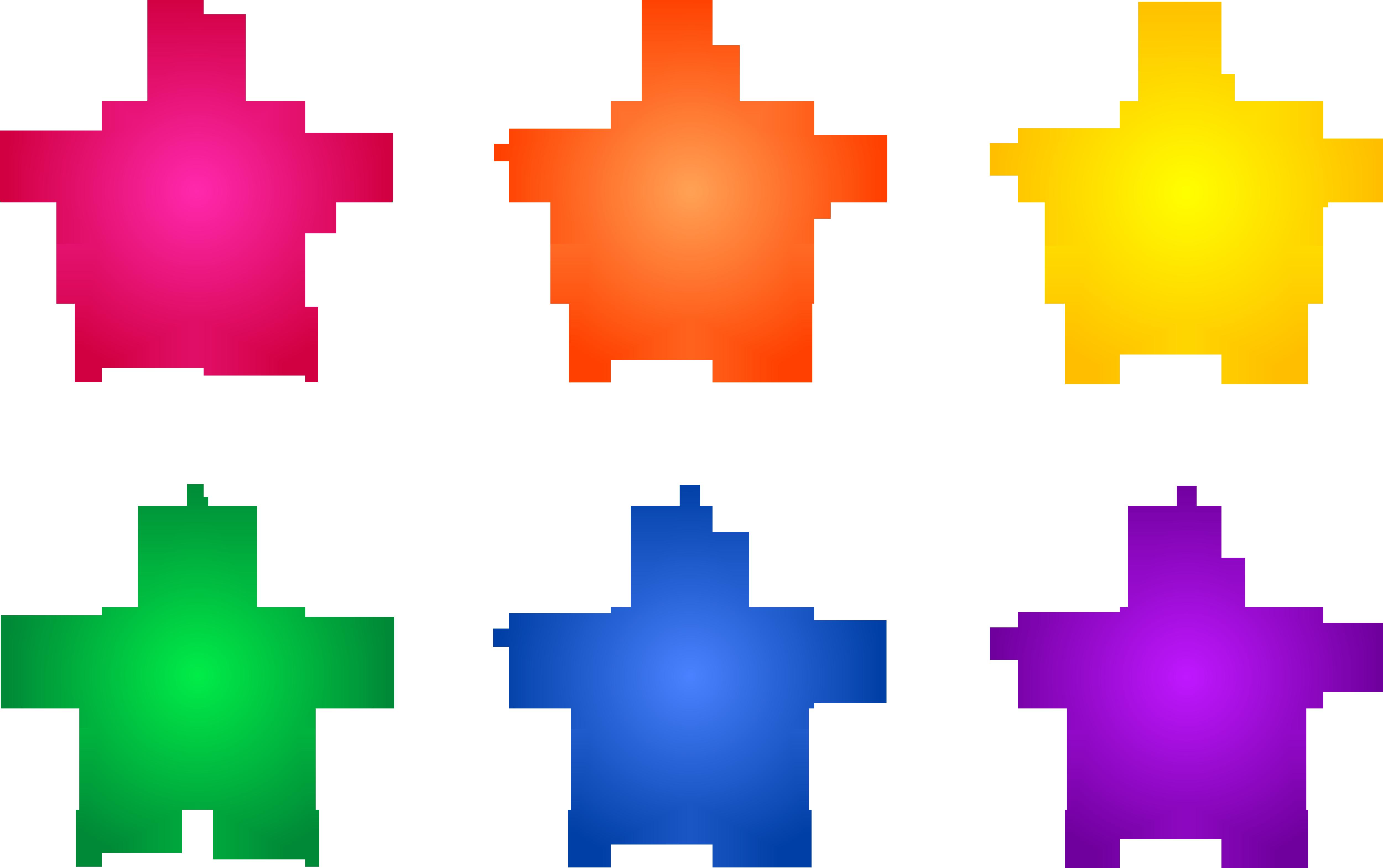 5000x3139 Set Of Six Colorful Stars