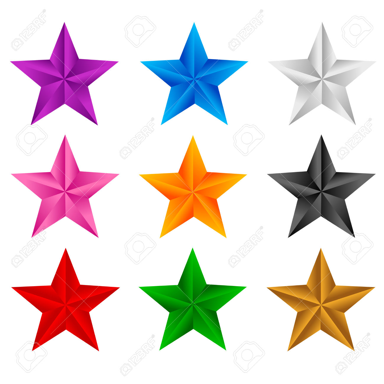 1299x1300 Colourful Stars Clipart