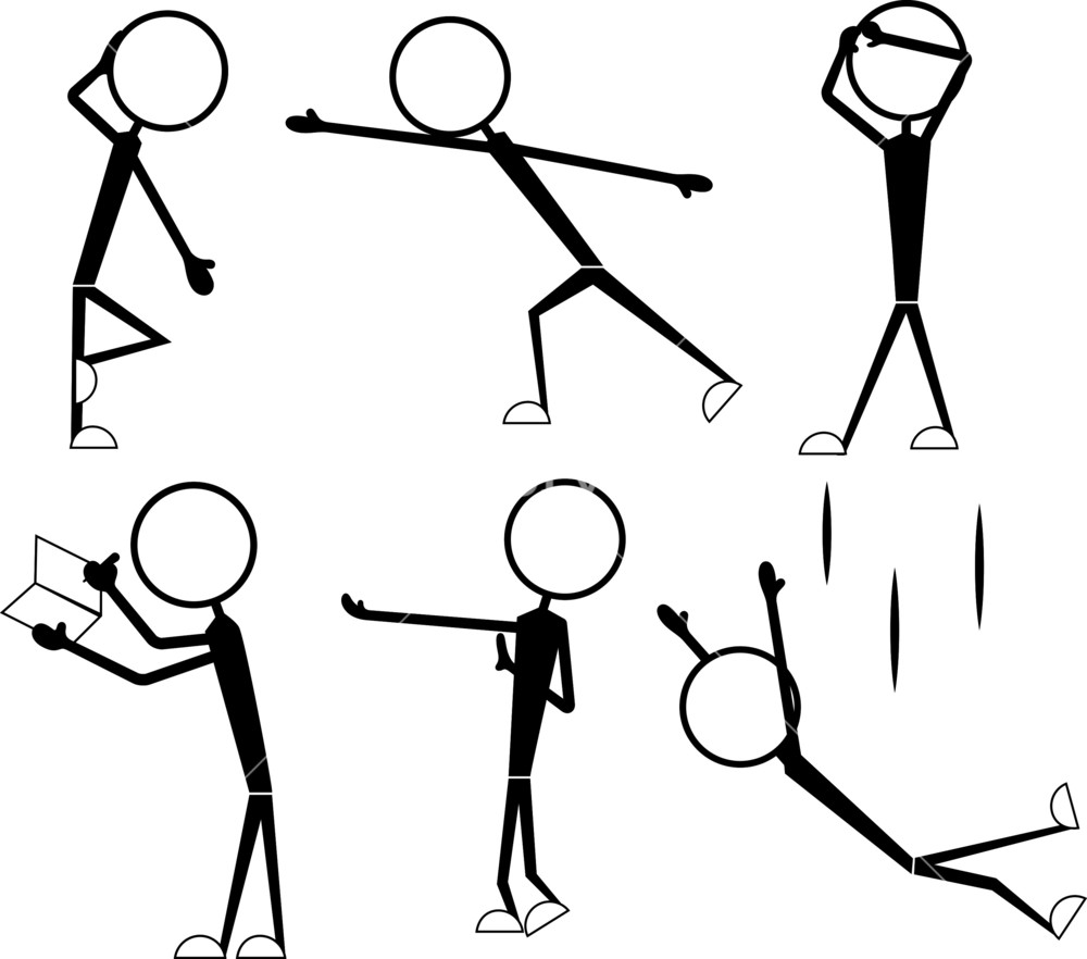 1000x882 Cartoon Stick Figure Poses And Actions Royalty Free Stock Image