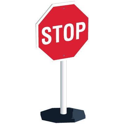 400x400 Flexible Portable Stop Sign System Seton