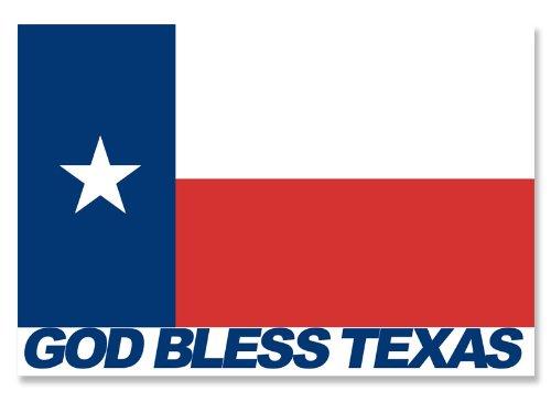 500x375 God Bless Texas Sticker (Tx Flag Christian Decal)