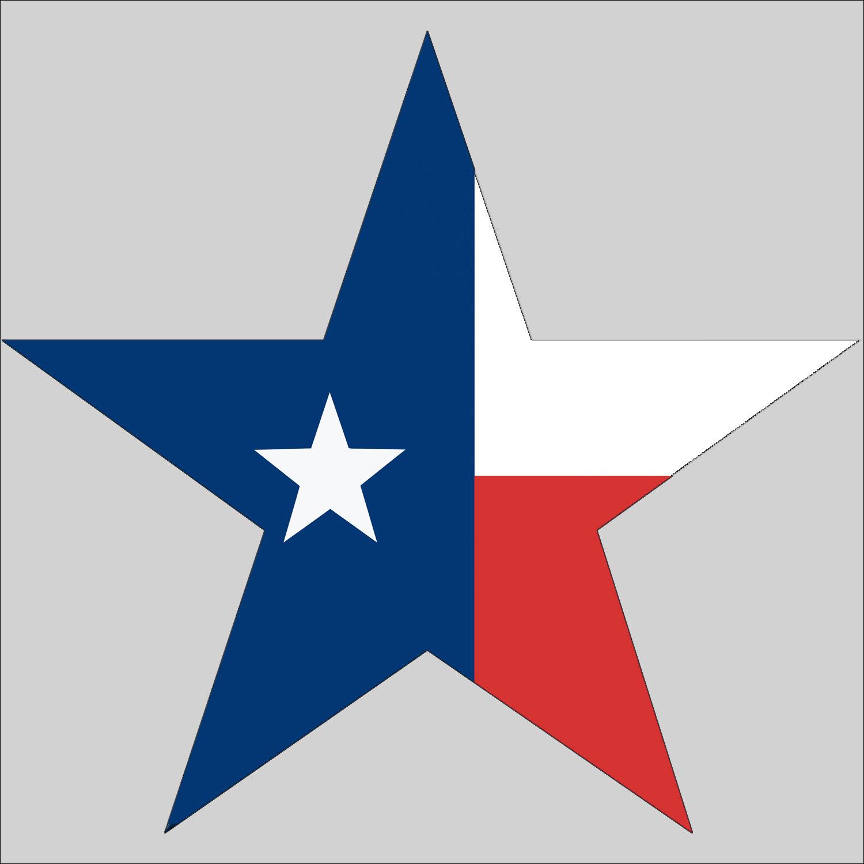 1500x1500 Star Shaped Texas Flag Sticker American Method