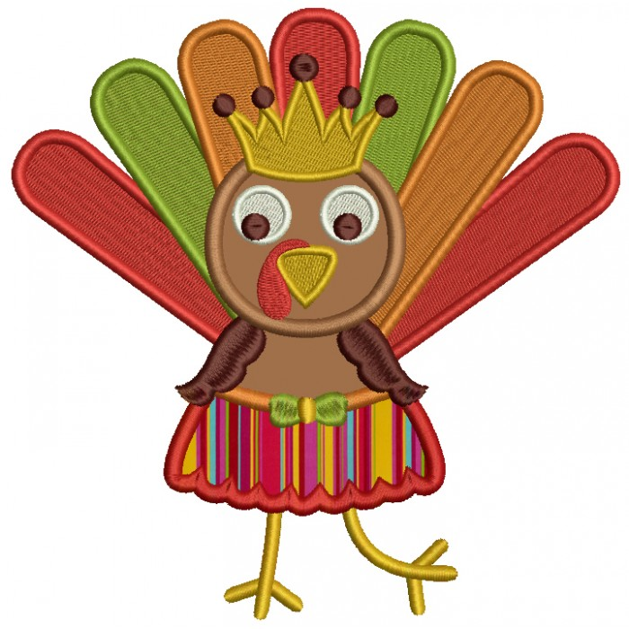 700x700 Girl Turkey With A Crown And Waering Skirt Thanksgiving Applique