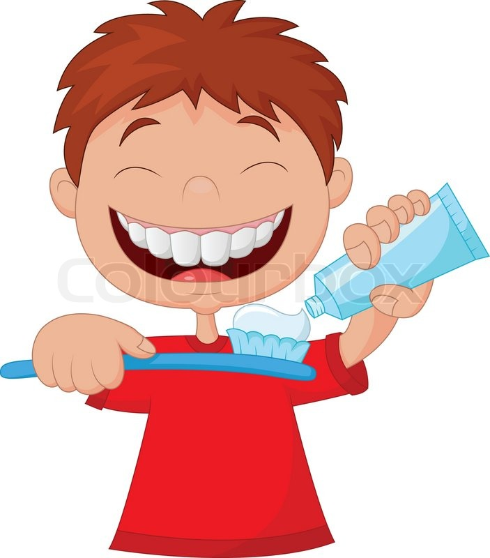 703x800 Vector Illustration Of Kid Cartoon Squeezing Tooth Paste On