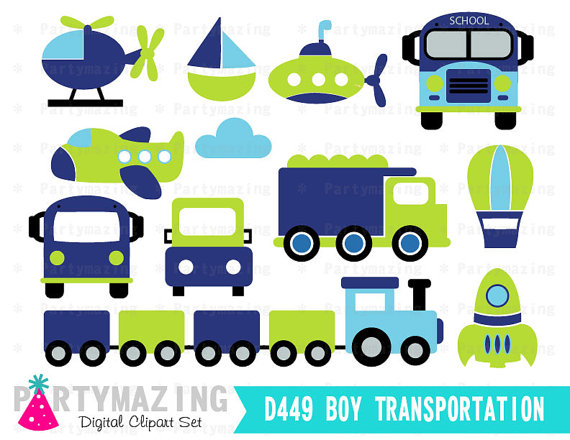 570x440 Transportation Clipart For Boys , Blue And Green Digital Clip Art