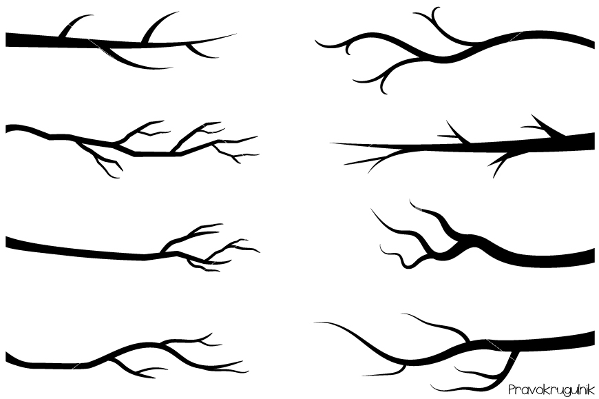870x579 Black Branches Clipart, Tree Branch Silhouettes Clip Art, Bare