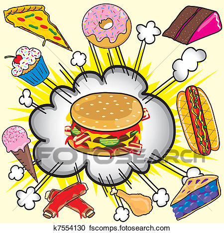 450x470 Clipart Of Junk Food Explosion! K7554130