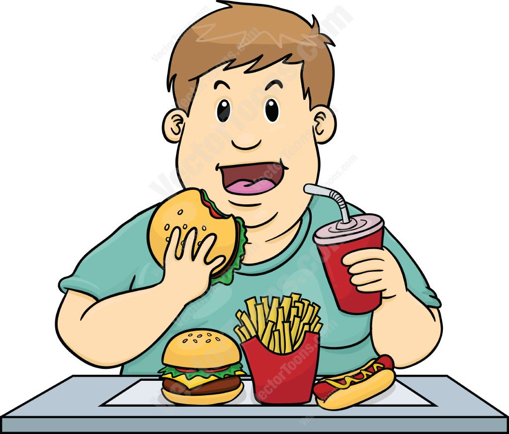 1024x873 Overweight Man Eating Too Much Unhealthy Fast Food Cartoon Clipart