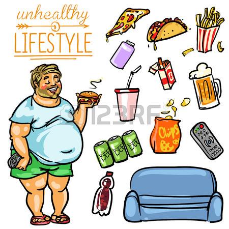 450x450 Unhealthy Lifestyle. Hand Drawn Cartoon Collection, Clip Art