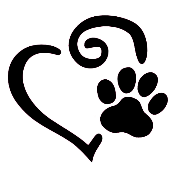 581x581 Swirl Heart And Paw Print Decal