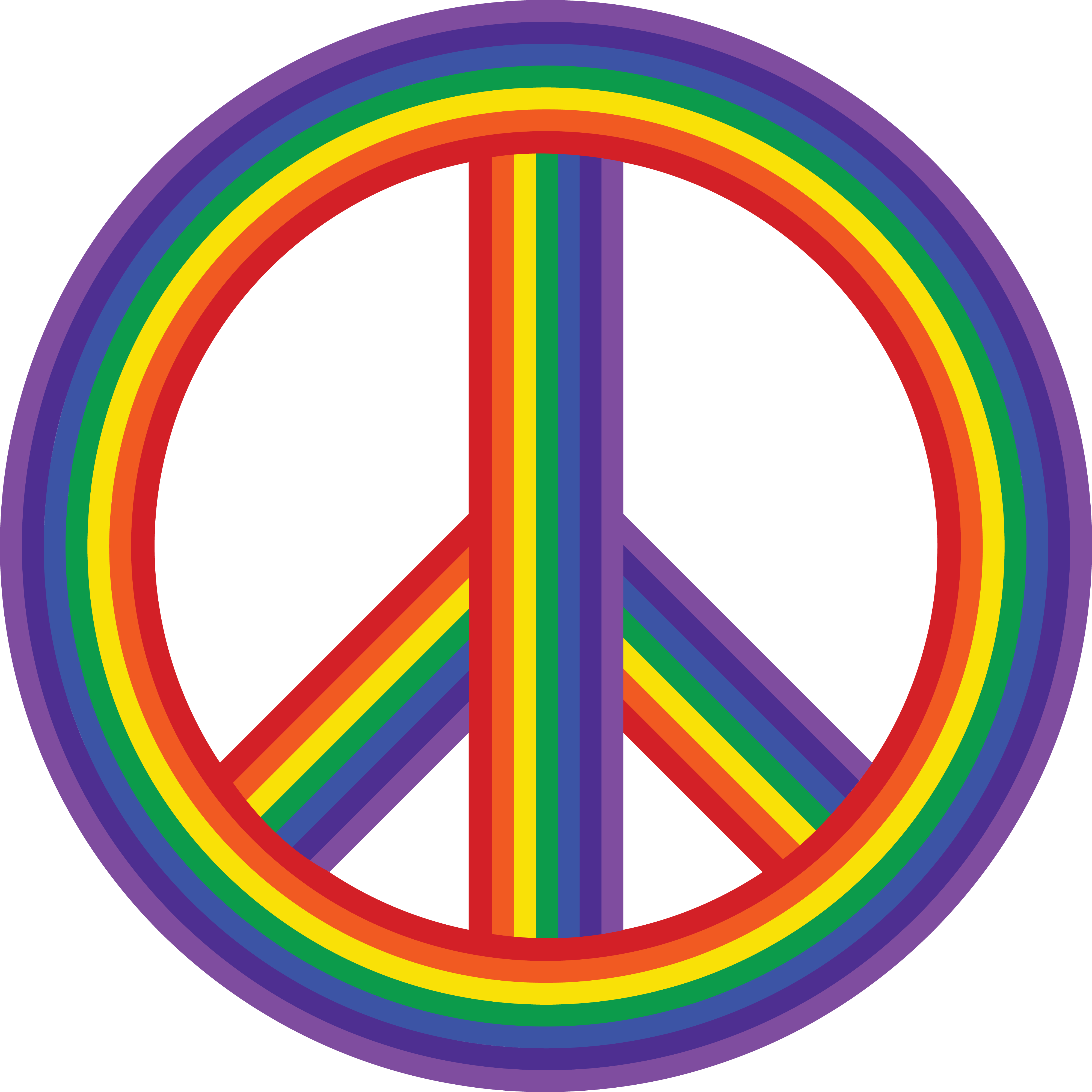 4000x4000 Free Clipart Of A Rainbow Peace Symbol