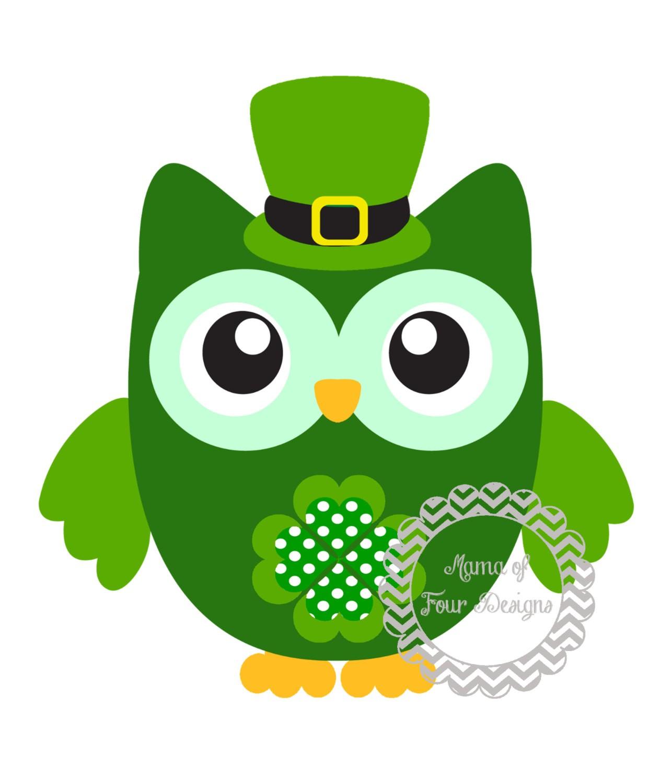 1286x1500 St Patrick's Day Owl Clip Art