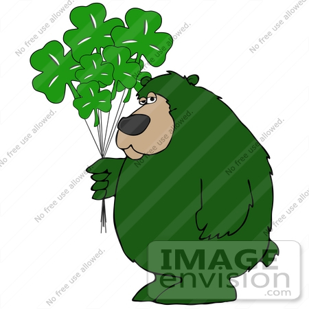 450x450 Clip Art Graphic Of A Green St Patrick's Day Bear With Clover