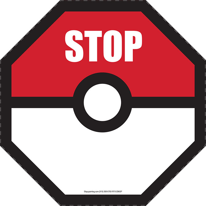 670x670 Pokemon Go Stop Floor Sign For Safety Stop Painting