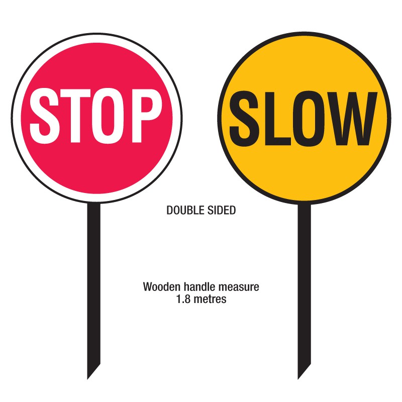 800x800 Stop Sign Slow Sign Paddle 450mm