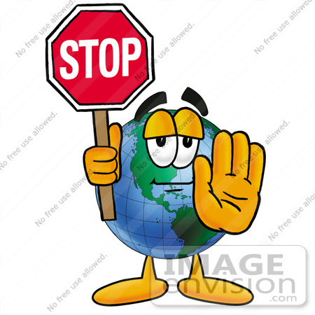 450x450 Clip Art Graphic Of A World Globe Cartoon Character Holding A Stop