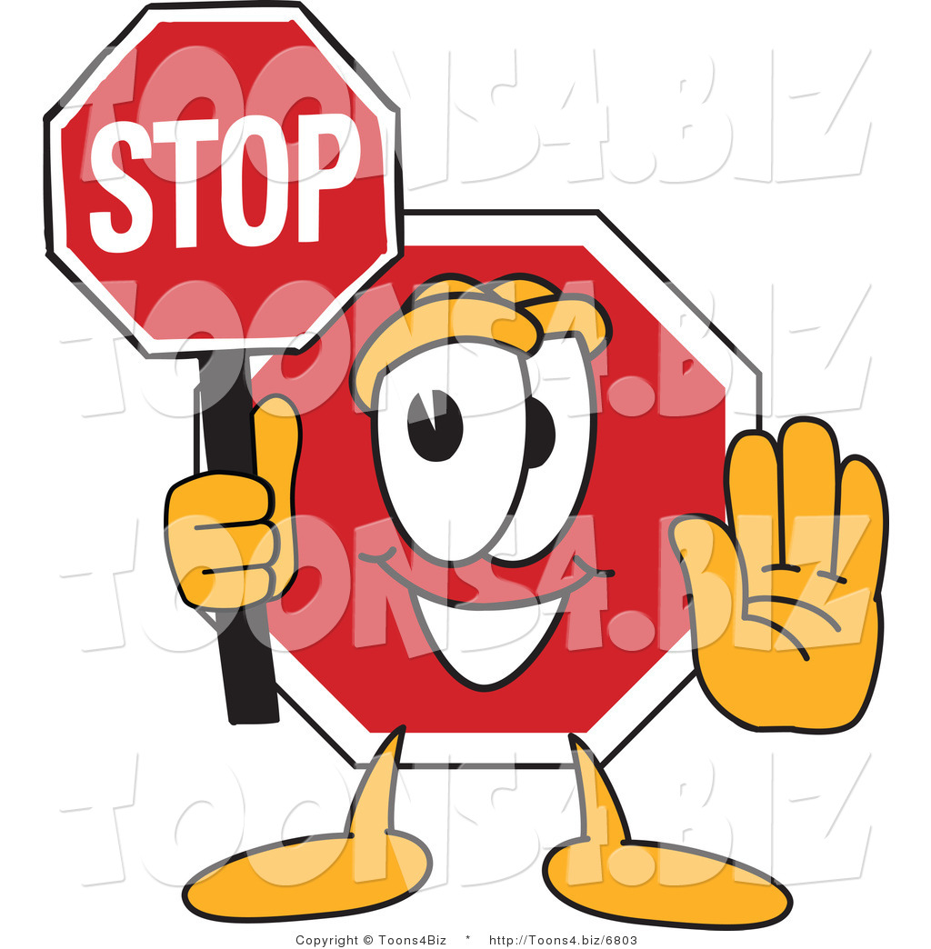 1024x1044 Vector Illustration Of A Cartoon Stop Sign Mascot Holding A Sign