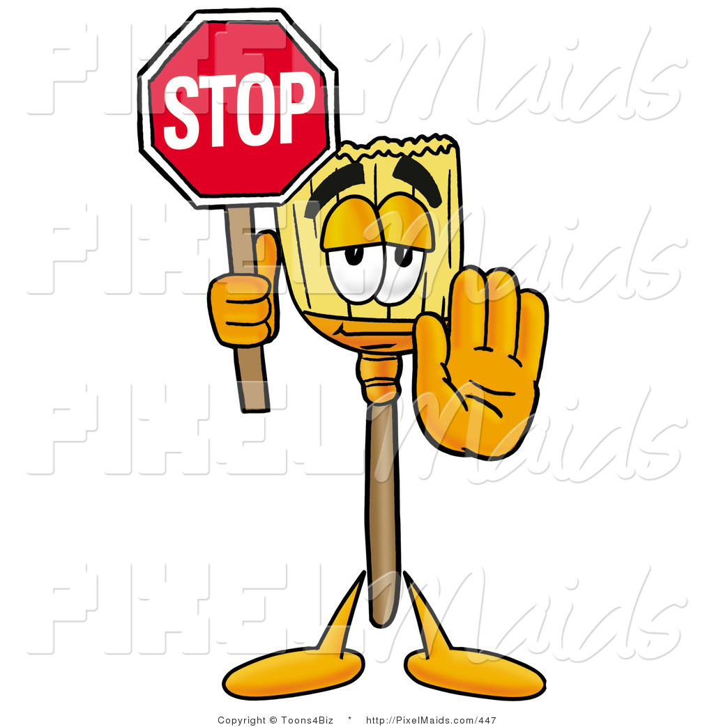 1024x1044 Clipart Of A Cute Broom Mascot Cartoon Character Holding A Stop