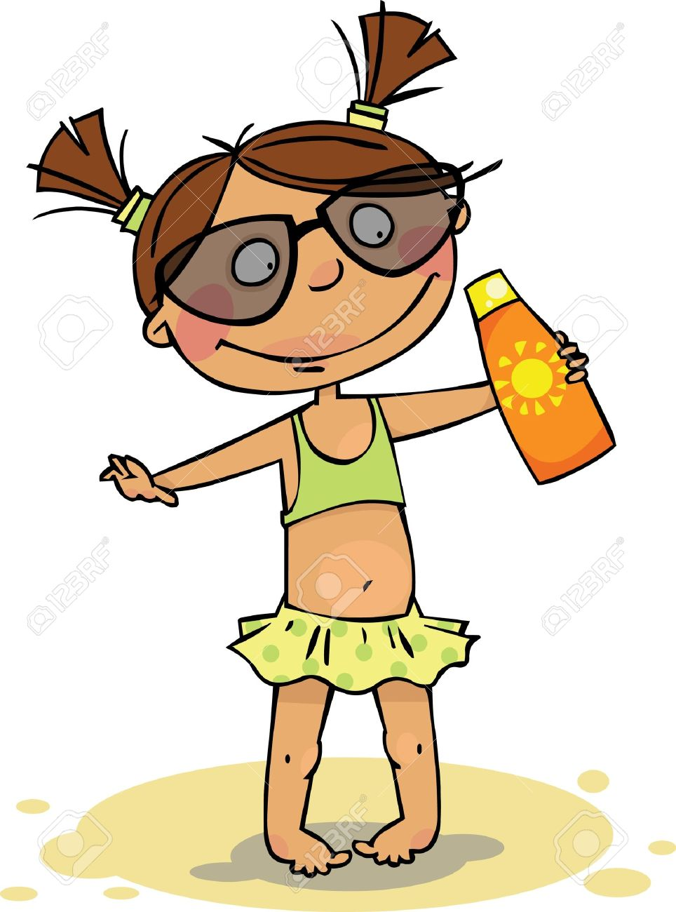 964x1300 Girl In Swimsuit With Sunscreen Royalty Free Cliparts, Vectors