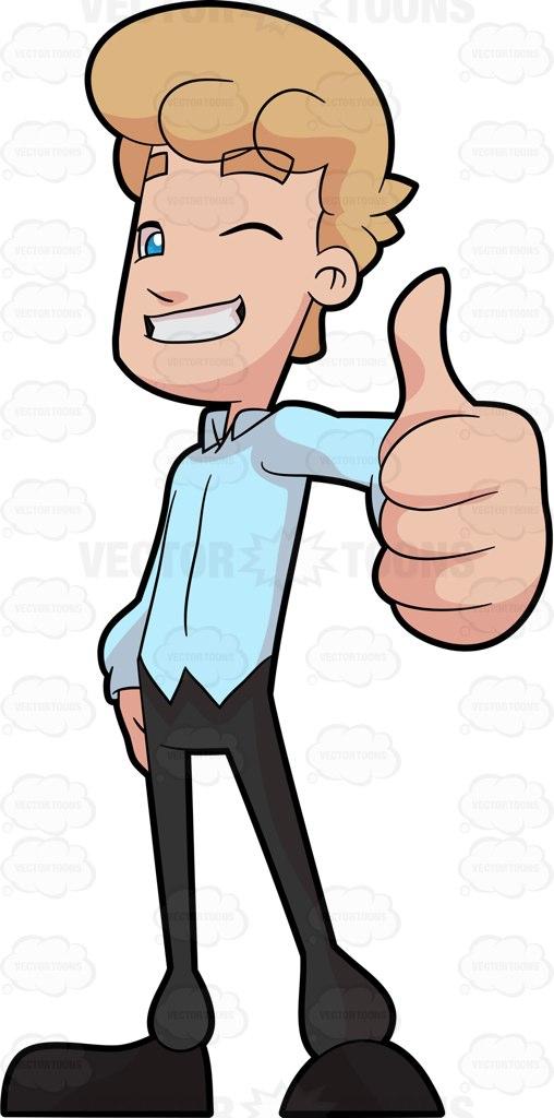 508x1024 A Man Giving A Thumbs Up Cartoon Clipart