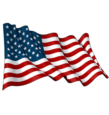 380x400 Illustration Of A Waving American Flag Against White Background