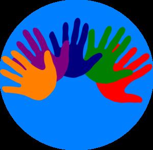300x294 Volunteering Hands Various Colors Clip Art