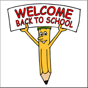 304x304 Clip Art Cartoon Pencil W Welcome Back To School Sign Color I