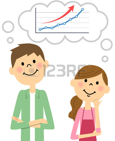 367x450 Young Couple To Imagine The Stock Price Rise Royalty Free Cliparts