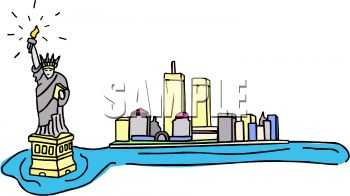 350x196 Royalty Free Clip Art Image Staute Of Liberty And New York City