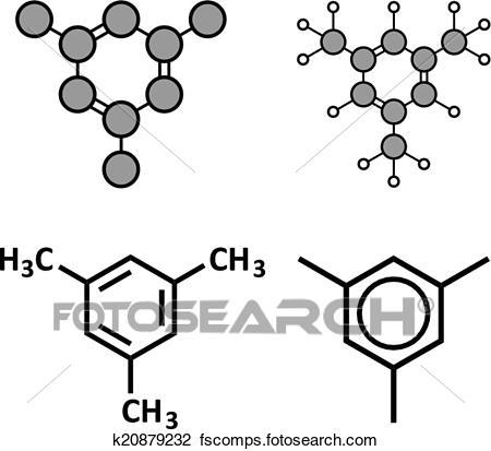 450x413 Clipart Of Mesitylene Aromatic Hydrocarbon Molecule. Important
