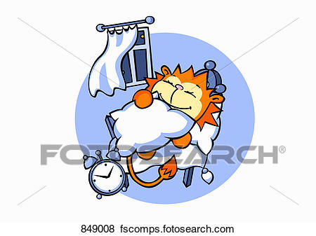 450x337 Clip Art Of A Cartoon Lion Sleeping In Bed 849008