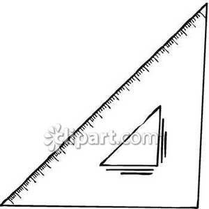 300x300 Black And White Triangle Ruler Royalty Free Clipart Picture