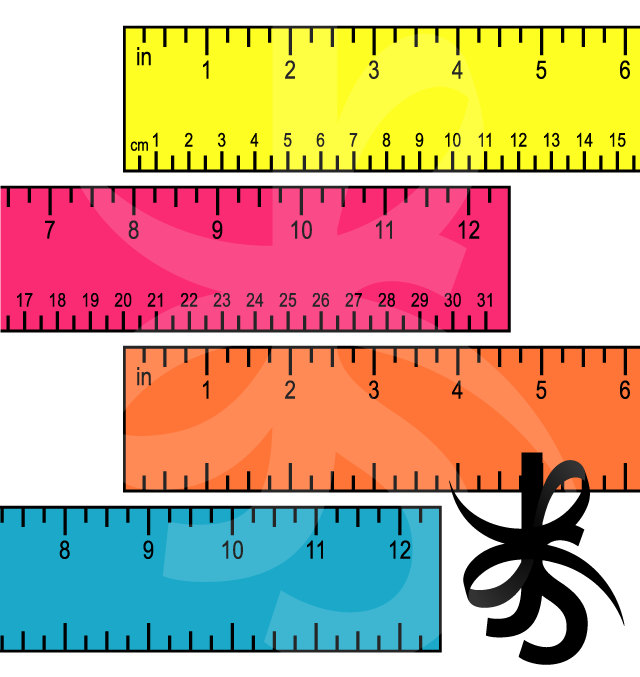 640x677 Digital Clipart Colorful 12 Inch Rulers Printable Colorful Instant