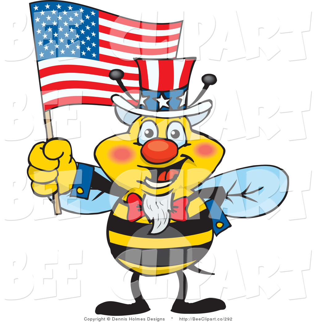 1024x1044 Cartoon Vector Clip Art Of A Patriotic Yellow Uncle Sam Bee Waving